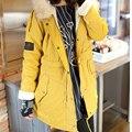 Nueva Moda de Invierno Las Mujeres de Moda de Piel Con Capucha de la Cremallera Embellecido Fleece Dentro Militar Casual prendas de Abrigo de Invierno ropa de Abrigo