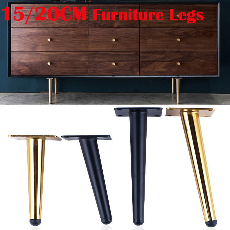 4Pcs 150/200MM Furniture Table Legs Metal Tapered Sofa Cupboard Cabinet Furniture Leg Feet Coffee Tea Bar Stool Chair Leg Feet