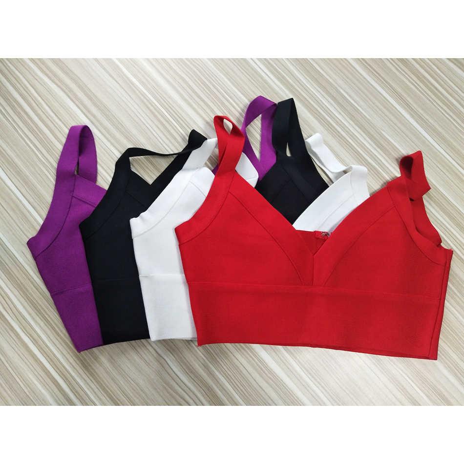 สายคล้องคอผู้หญิง Crop Tops เซ็กซี่ V คอสั้นเสื้อฤดูร้อนสีดำสีขาวสีแดงสีม่วงสบายๆ clubwear