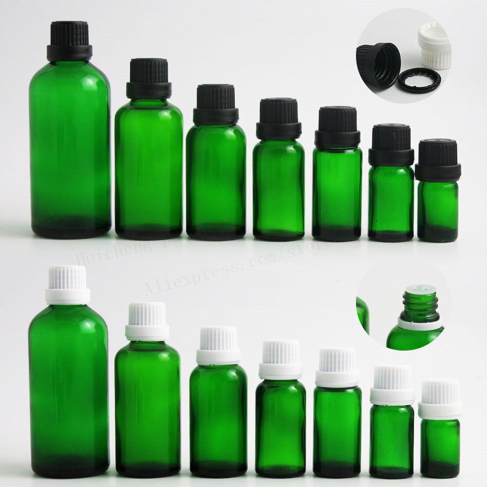 200 x Empty green glass bottles with White Black tamper evident cap reducer dropper 5ml 10ml