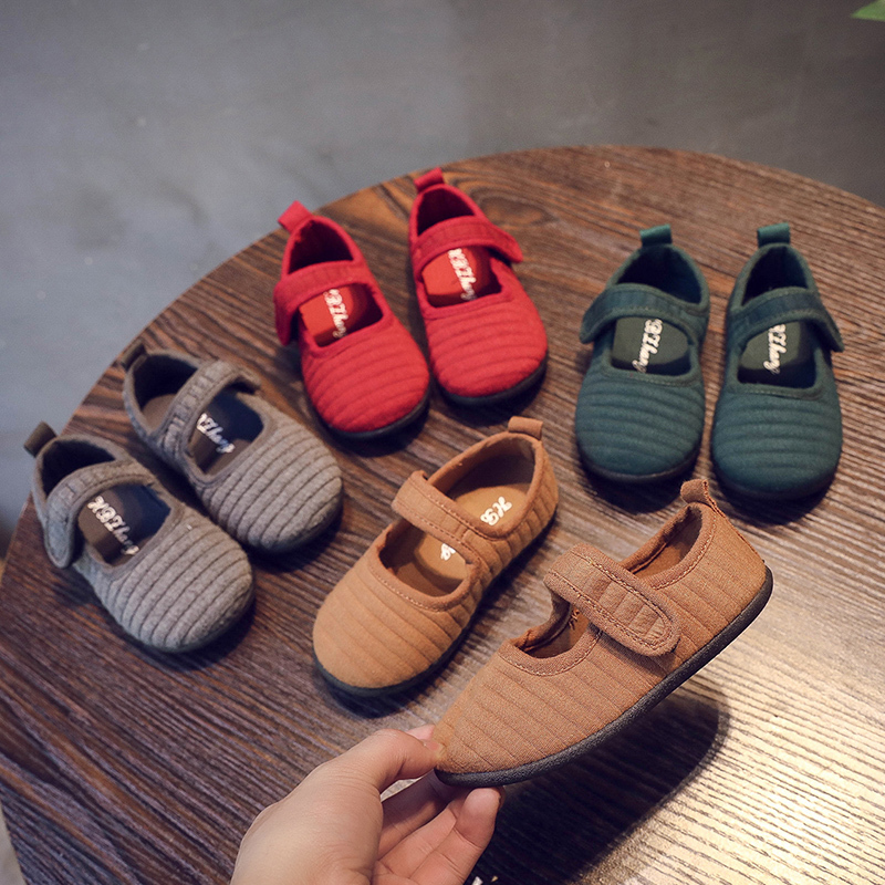 Children's Cotton Shoes Flat Shoes Boys And Girls Shoes Soft Baby Sports Shoes Red Gray Breathable Ballet Folding Sandals