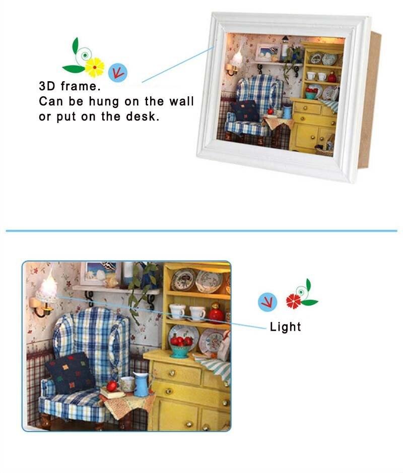 NEW DIY Mini Photo Frame Dollhouse Furniture LED Light Set-Summer Afternoon