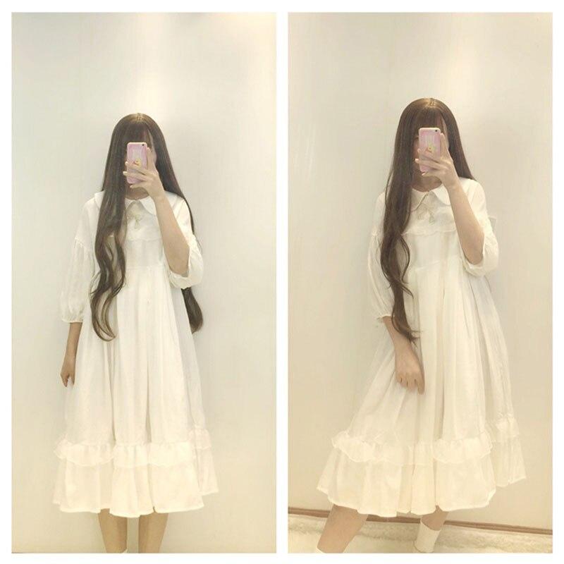 Lolita Costume robe doux mignon manches bouffantes japonais Harajuku Kawaii filles princesse femme de chambre Vintage jupe arc ensemble poupée col