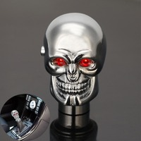 94% OFF Universal Manual Auto Car Replacement Gear Knob Shifter Lever Chrome Red LED Eyes Cool Skull Automobiles Gear Shift