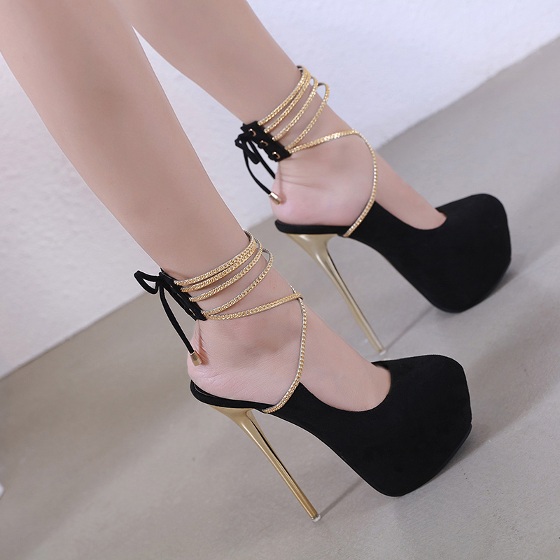 Women's <font><b>high</b></font> <font><b>heels</b></font> ultimate <font><b>sexy</b></font> chain waterproof platform <font><b>17cm</b></font> <font><b>high</b></font> <font><b>heels</b></font>. image