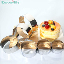 6PCS Stainless Steel Circular Mousse Ring DIY Cake Mould Set Baking Tool Biscuit Kitchen Round Handmade Bake