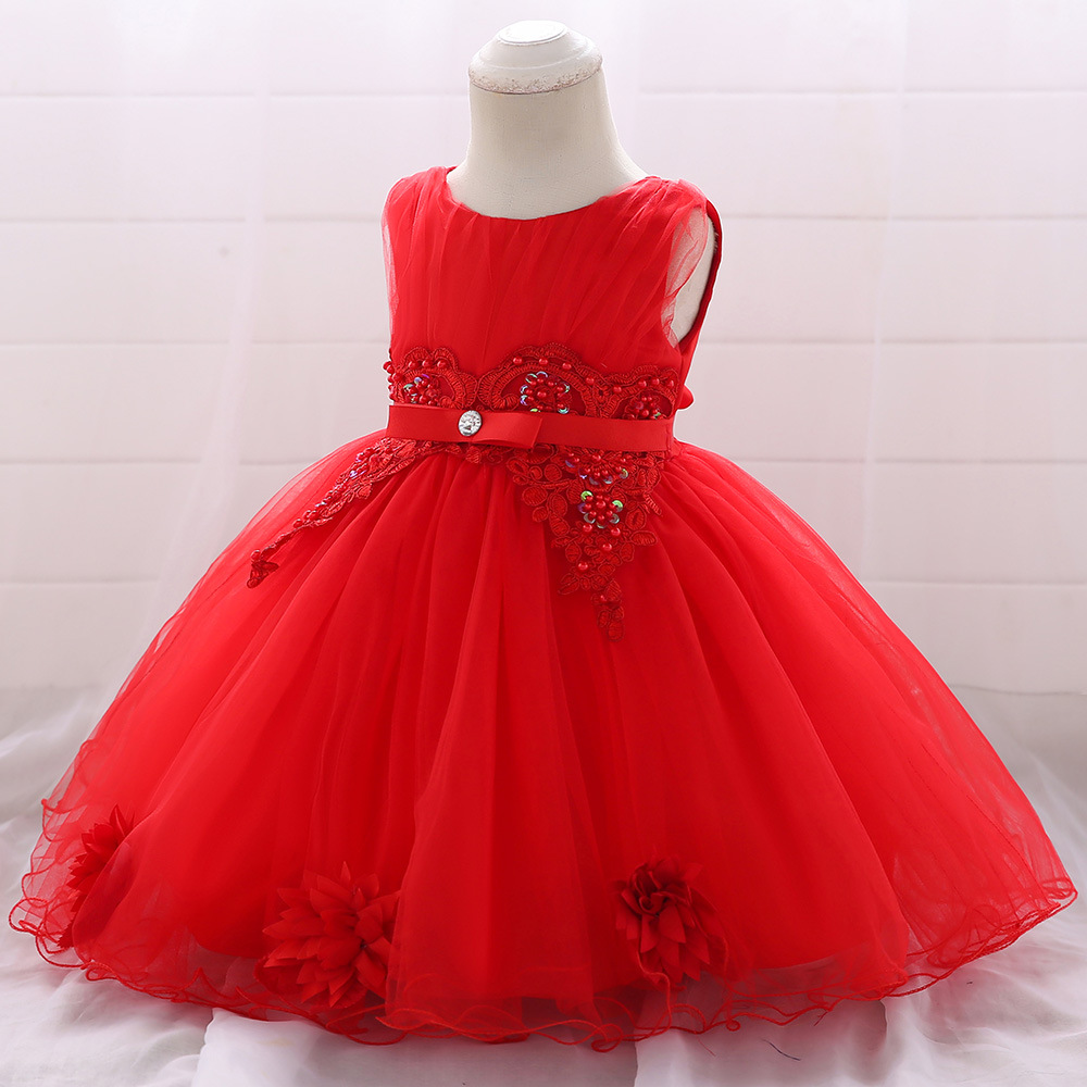 2019 Princess Party Dress Baby Years Old Flower Diamond Ribbon Girl Wedding