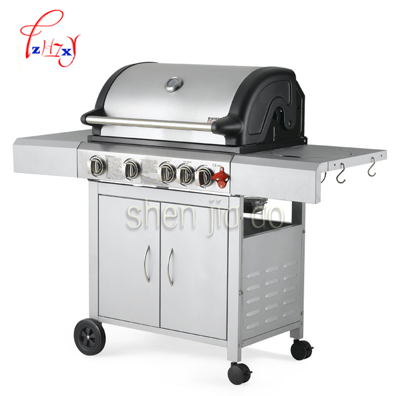 все цены на Outdoor/household gas stove Stainless steel Multi-function four-grid grill exports, 4 stoves 1pc онлайн