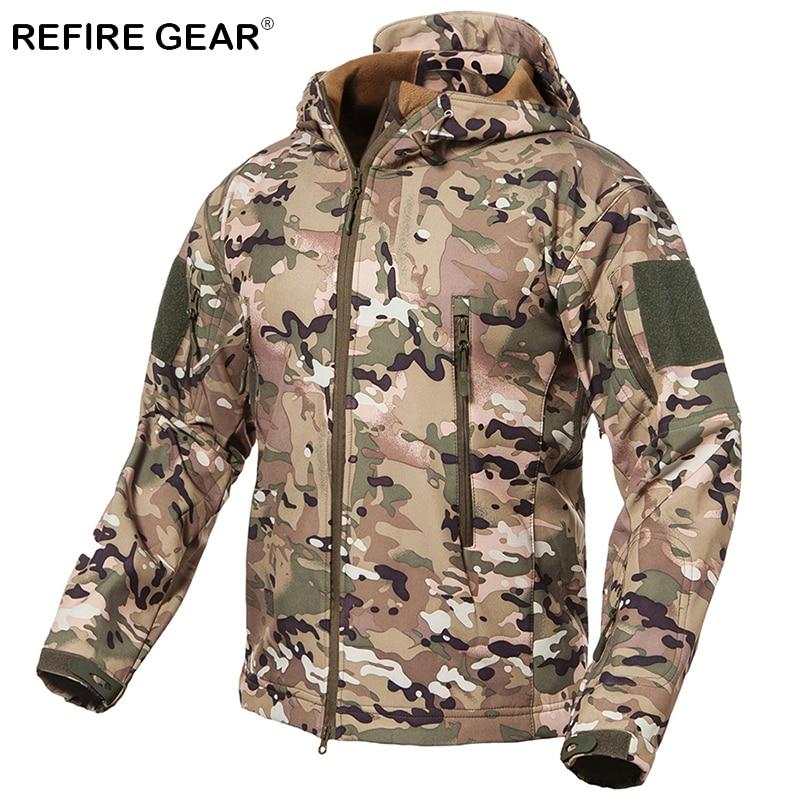 ReFire Gear Outdoor Soft Shell Jacket Men Waterproof Fleece Hunting Hiking Windbreaker Jacket Camp Camouflage Tactical