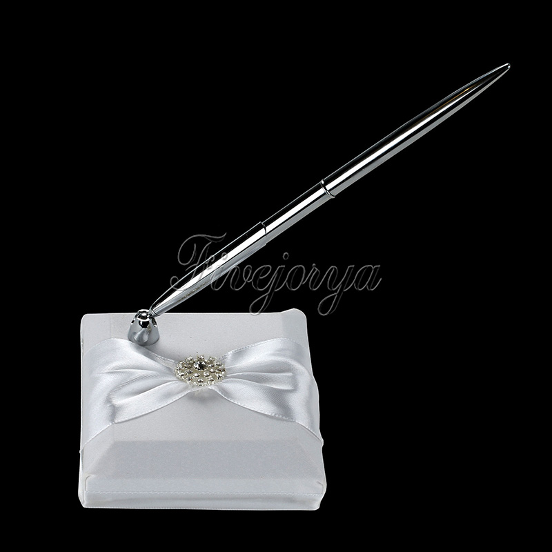 White Wedding Pen Set with Satin Ribbon Bow Rhinestone