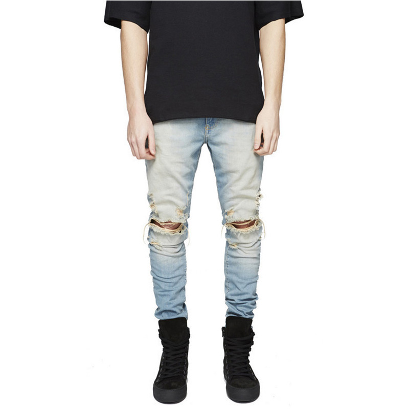 2016 Mens Ripped Jeans boost Hole Pants High Quality Man Casual Street Hip Hop Slim