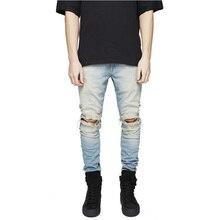 2016 herren ripped jeans boost loch hosen hohe qualität mann lässig straße hip hop dünne jeans distressed
