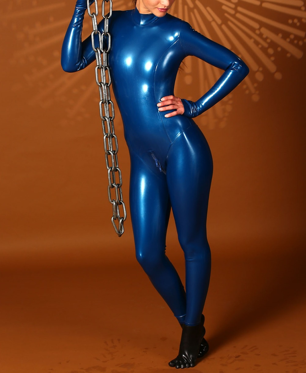 все цены на Latex Skin Tight Catsuit Sexy Rubber Fancy Suit Blue Latex Catsuit With Toe Socks Zipped Back онлайн