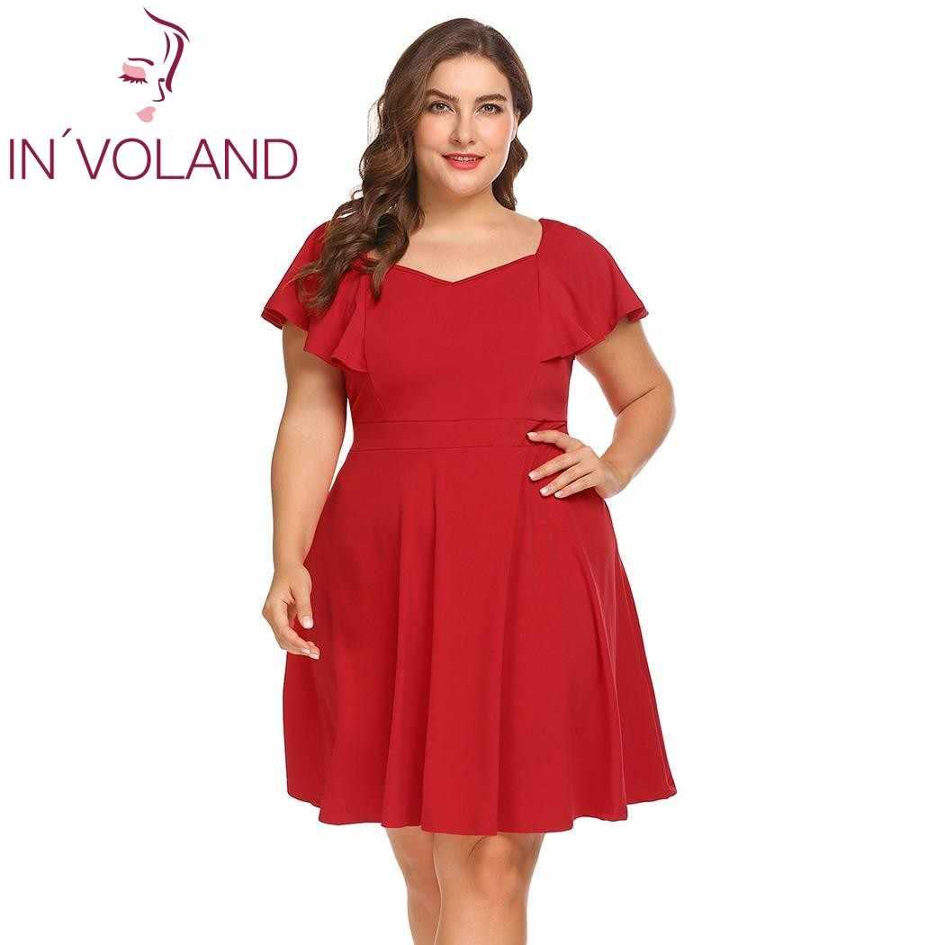0cf02654de IN'VOLAND Plus Size Women Party Dress XL-5XL Oversized Flutter Sleeve Solid  Slim