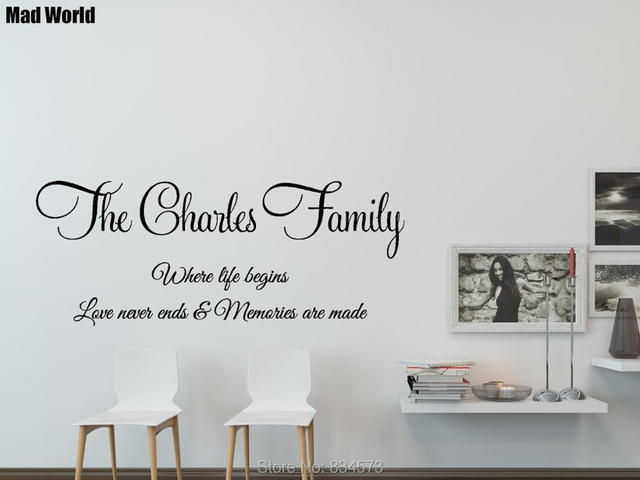 b8a1fc466aff Personalised Family Name Quotes Words Wall Art Stickers Wall Decals Home DIY  Decoration Removable Room Decor