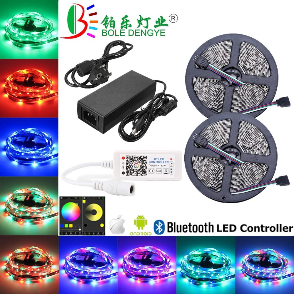 HTB1Uc46KkyWBuNjy0Fpq6yssXXam 5M WiFi Bluetooth LED Strip DC 12V SMD 5050 Non waterproof Flexible RGB Tape Ribbon Light Works With Amazon Alexa Google Assist