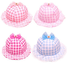 Stylish Fashion 2015 Summer outdoor Thin Children Hat Baby Grid Lace Cap Girls Cotton Bucket Fisherman