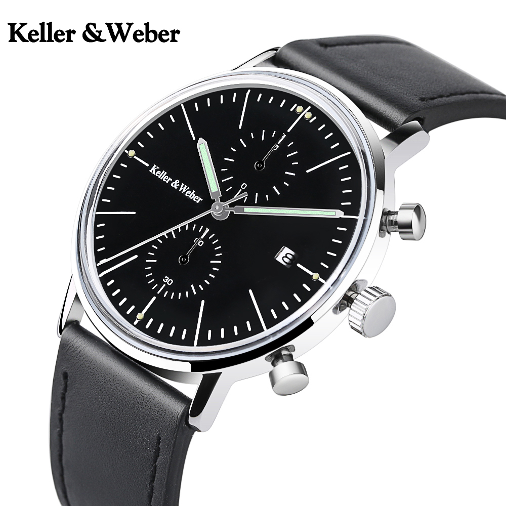 где купить Keller & Weber Wrist Watch Men Water Resistant Casual Chronograph Simple Genuine Leather Band Strap Date Display Waterproof по лучшей цене