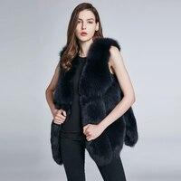 JKP Новый Лисий натуральный меховой жилет шуба женская зимняя без рукавов дизайн лисий меховой жилет