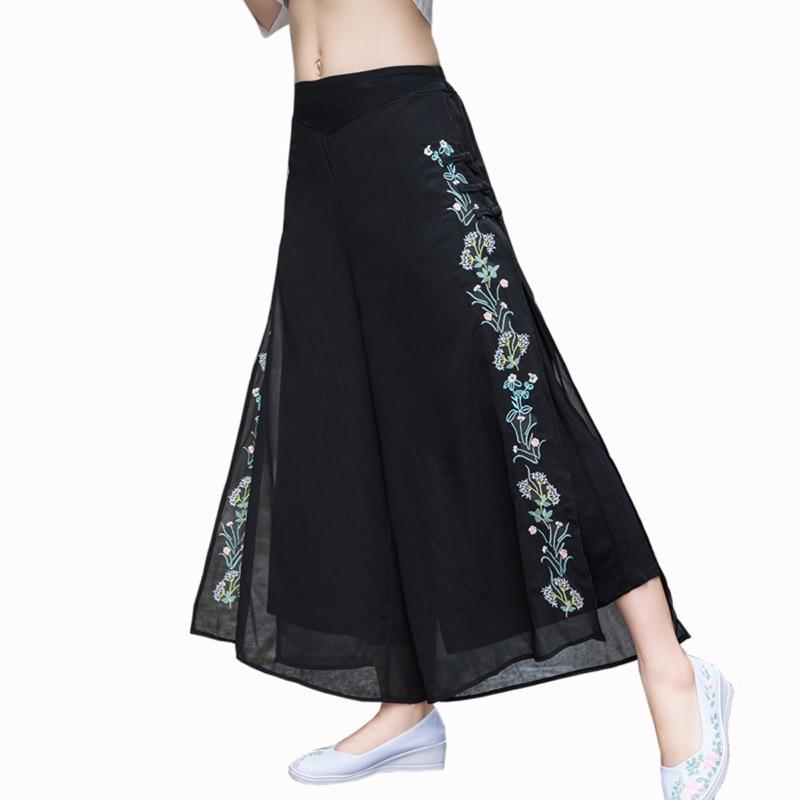 2019 summer Cotton Vintage Embroidery   Wide     Leg     Pants   women black Loose Chiffon Elastic Waist   Pants   Casual Floral   Pants   women