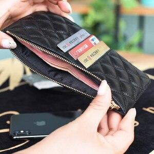 Image 5 - Nuove donne dei raccoglitori di lusso portafogli di marca del progettista della borsa Del Cuoio Genuino Sottile Sottile Portafogli E Portamonete di pelle di Pecora Femminile Portafoglio Mobile