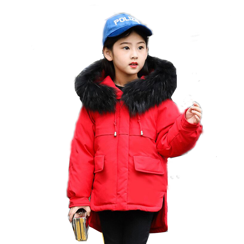Children's Winter Girls Down Jacket White Duck Down Short Thick 2018 New Fashion Fur Collar Down Jacket For Girl Size 110-150 2015 new winter thick down jacket women black and white patchwork color plus size coat white duck down 90% down jacket ae396