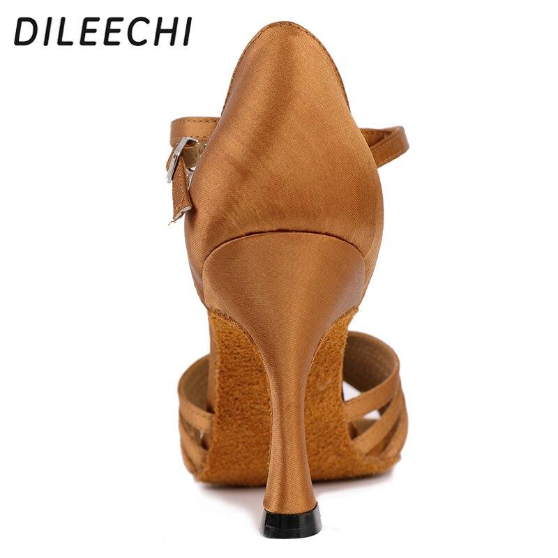 Aliexpress.com   Buy DILEECHI salsa women s latin dance shoes ballroom  dancing shoes bronze heel 85mm satin soft outsole from Reliable shoes  ballroom ... 04ff88bf780a