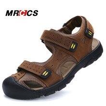 MRCCS Buena Calidad de Gran Tamaño 38-47 Sandalias de Los Hombres Diarios, Verano Fresco Zapatillas Para Caminar, Suave Y Cómodo Cuero genuino Zapatos de la Playa