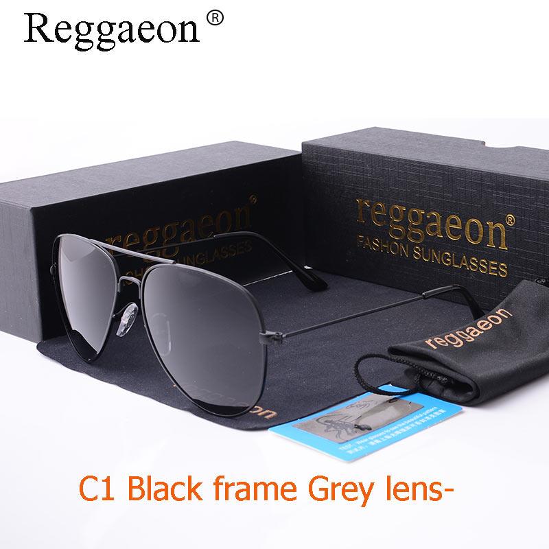 03464434d Raggaeon filme colorido óculos de sol polarizados dos homens de moda de luxo  de design da marca clássico piloto óculos de sol de metal moldura de prata  do ...