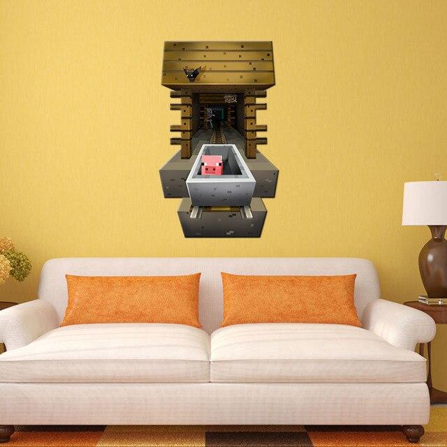 new minecraft wall stickers home decor living room diy art mural ...