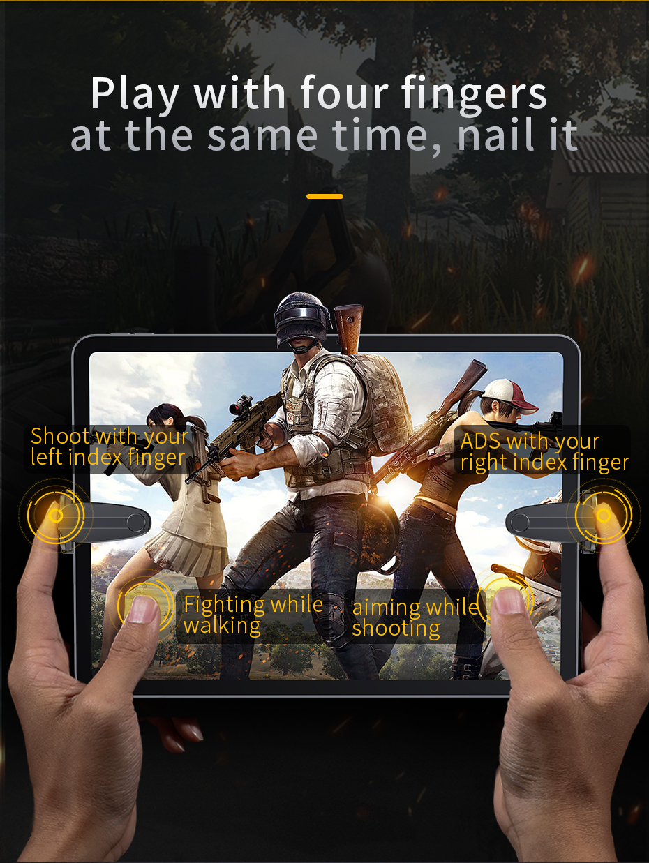 US $4 99 |Baseus PUBG Cell Controller Gaming Trigger for iPad Xiaomi Tablet  Mobile Phone Game Shooter Fire Button Joystick For IOS Android-in Mobile