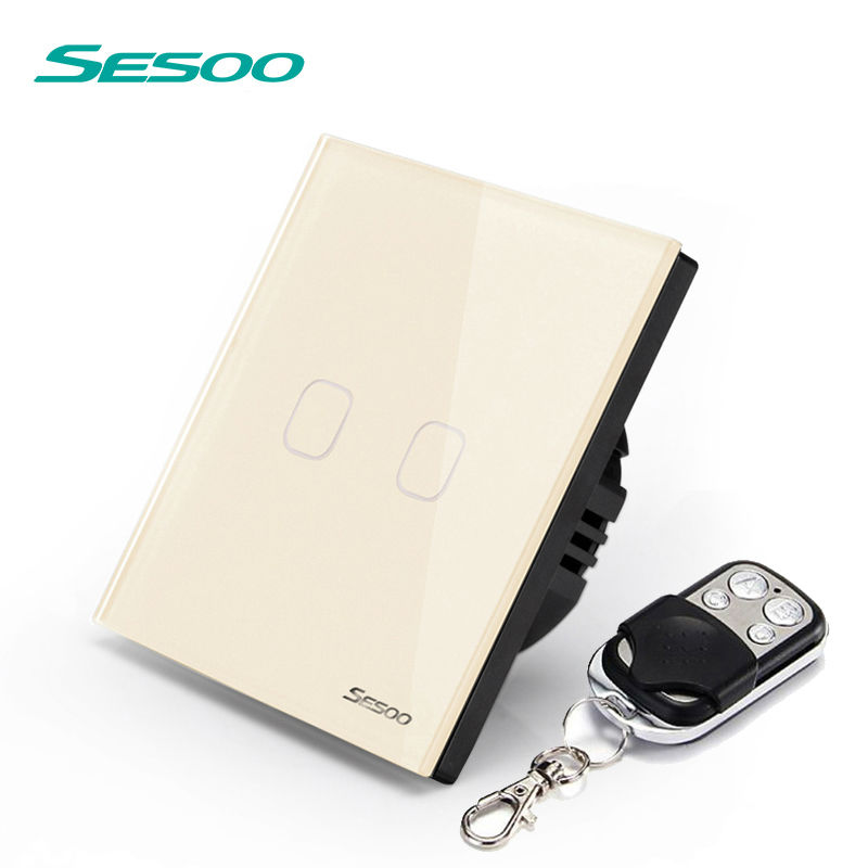SESOO Remote control switch,2 gang 1 way,Wireless remote control wall switch touch light switch smart home us black 1 gang touch switch screen wireless remote control wall light touch switch control with crystal glass panel