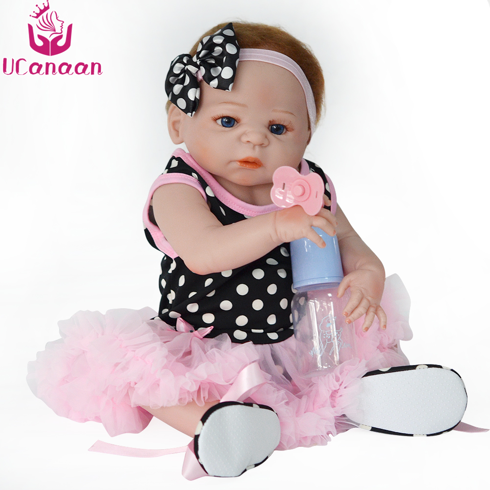 UCanaan 22'' Blue Eyes Baby Alive Doll 55CM Silicone Reborn Babies Dolls Sweet Girl Boneca Reborn Silicone Completa Kids Toys ivita 20 inch baby doll reborn dolls born babies silicone dolls reborn alive doll girl boneca reborn silicone completa toys