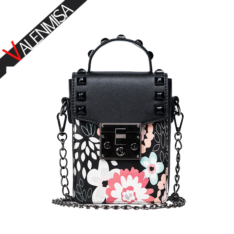 VALENMISA Luxury Purses And Handbags Designer Brand Women Mini Messenger Bag 2017 New Lock Buckle Chain Shoulder Bag luxury handbags women chain messenger bag lipstick lock designer woman black