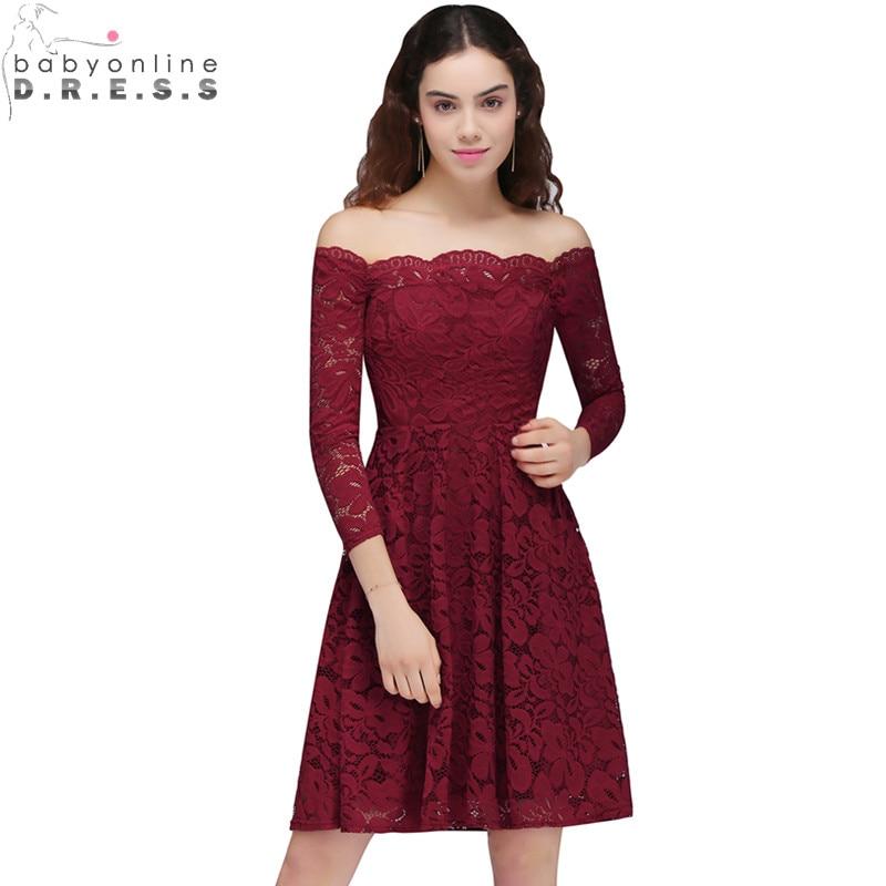 Vestido de Festa Curto Burgundy Lace Appliques Short   Prom     Dresses   Short Party   Dresses   with Sleeve Vestido de Formatura