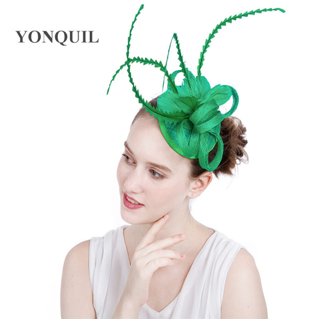 175308ee79e 17 Colors sinamay green Feather fascinator base hats for race party church  royal ascot hats wedding