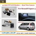 """Traseira do carro Da Câmera + 4.3 """"TFT LCD Monitor de Tela = 2 em 1 Sistema de Back Up de Estacionamento-Para Renault Espace 4"""