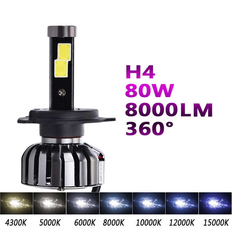 Super Bright Car Headlights LED H4 Auto Front Bulb Automobiles Headlamps 6000K 80w 8000lm Hi/Low Light Bulbs N7