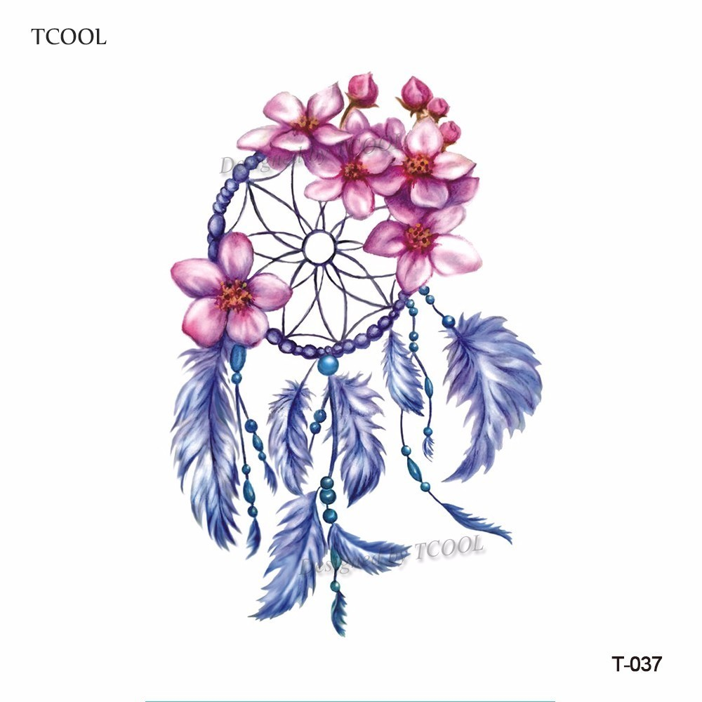 HXMAN Watercolor Dreamcatcher Temporary Fake Tattoo Body Art Sticker Waterproof Women Hand Tattoo Sticker 9.8X6cm T-037