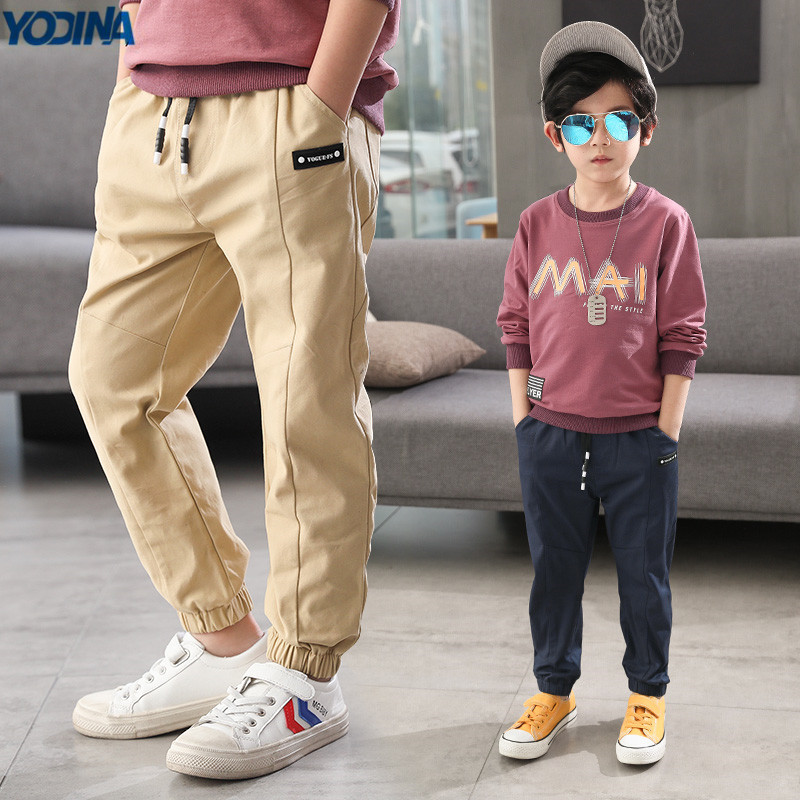 YODINA Kids Clothes Autumn Spring Boys Cotton Casual Pants Solid Color School Children Pants Teen Boys Full Length Trousers boys trackpants kids winter pants children trousers full length boy harem pants children clothing brand boys clothes