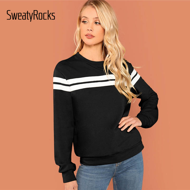 SweatyRocks Black Striped Tunic Pullover Long Sleeve Round Neck Leisure Crop Tops 2018 Autumn Casual Women Basic Sweatshirts
