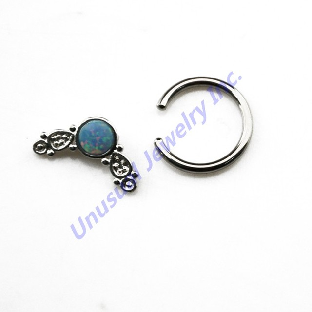 14G Steel Leaf Shaped Unique Captive Bead Ring/ Septum Clickers