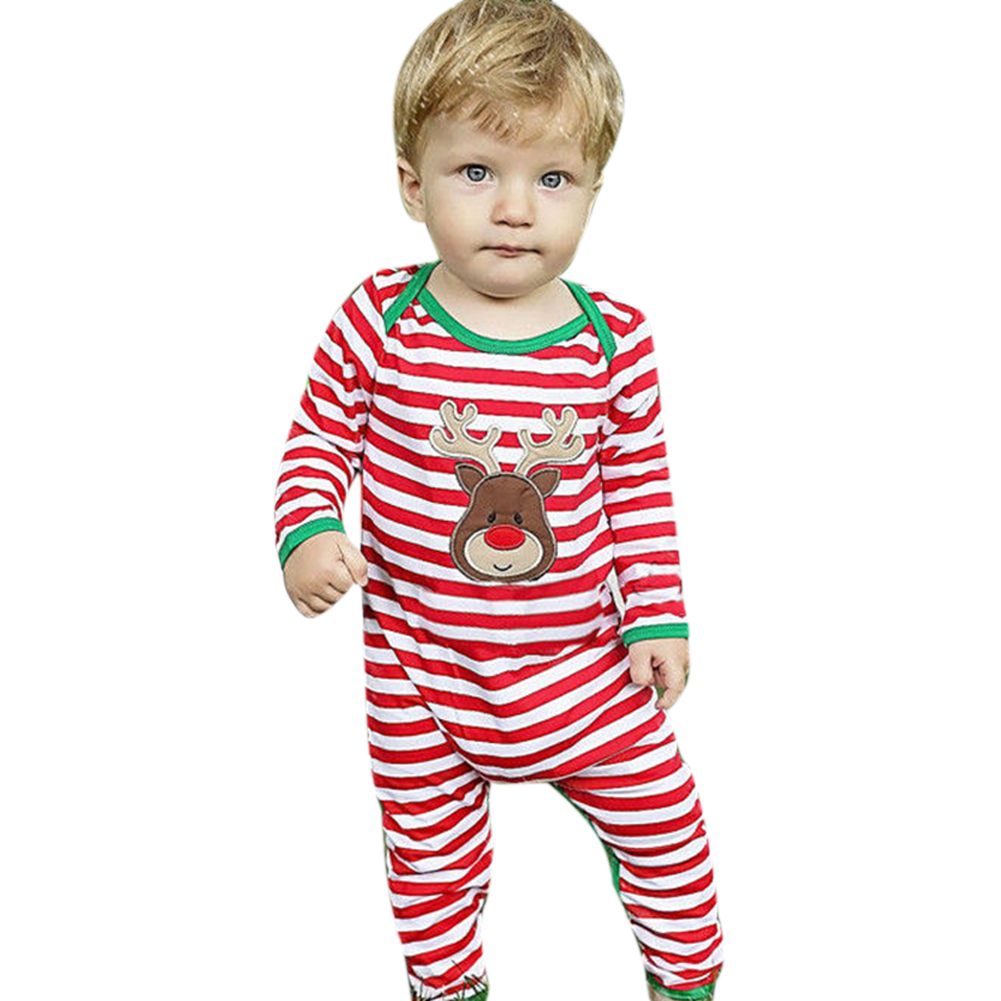 Christmas Newborn Baby Girls Boys Clothes Striped Long Sleeve Romper Christmas Costume Toddler Kids Clothing puseky 2017 infant romper baby boys girls jumpsuit newborn bebe clothing hooded toddler baby clothes cute panda romper costumes