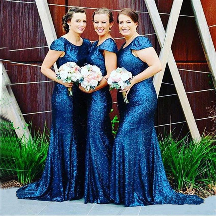 Blue Sequin   Bridesmaid     Dresses   Short Sleeve Floor Length Sheath 2019 New Fashion Cap Sleeve Scoop Wedding Party   Dresses