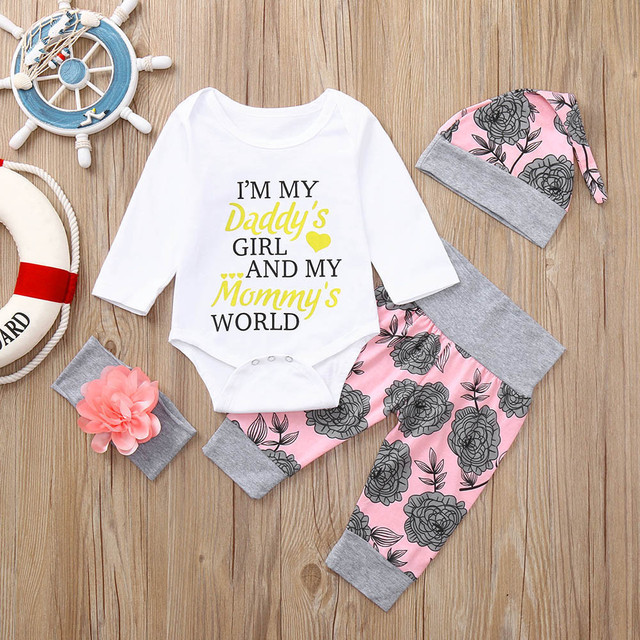 70094263d63f Newborn Infant Baby Girl Letter Romper Tops Floral Pants Hat Outfits ...