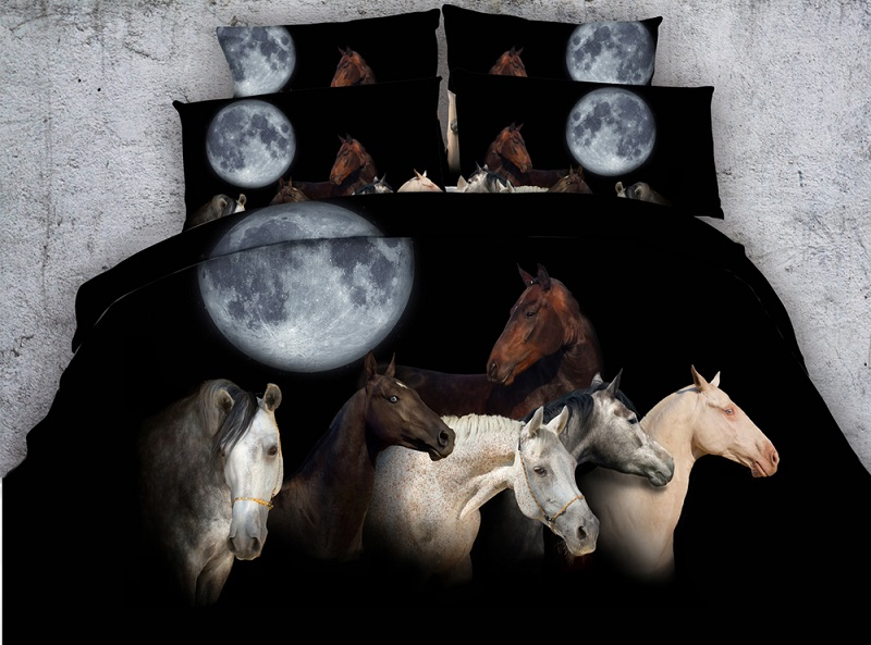 Moon Horse Bedding set Luxury 3D quilt duvet cover bed sheet sheets linen California King queen size full twin double 4PCS in Bedding Sets from Home Garden