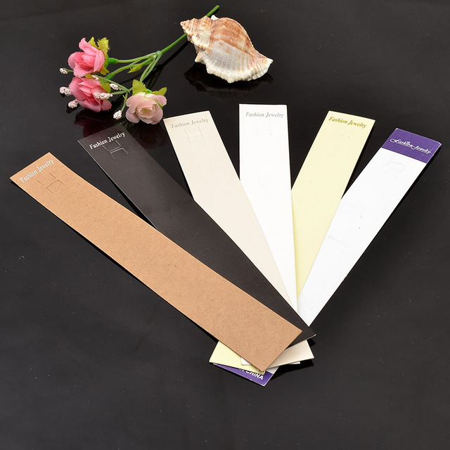 100pcs 3x21cm Jewelry Bracelet Ng White Long Paper Cards Mobile Phone Card Holder Jewellery Anklet Packaging