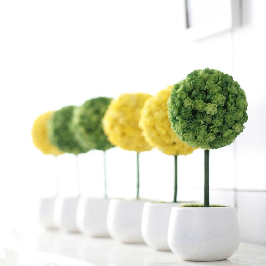 1Set Umělá rostlina Hrnková květina míč Obří Allium květina Bonsai pro svatbu domácí párty dekorace 4 barvy dekorativní