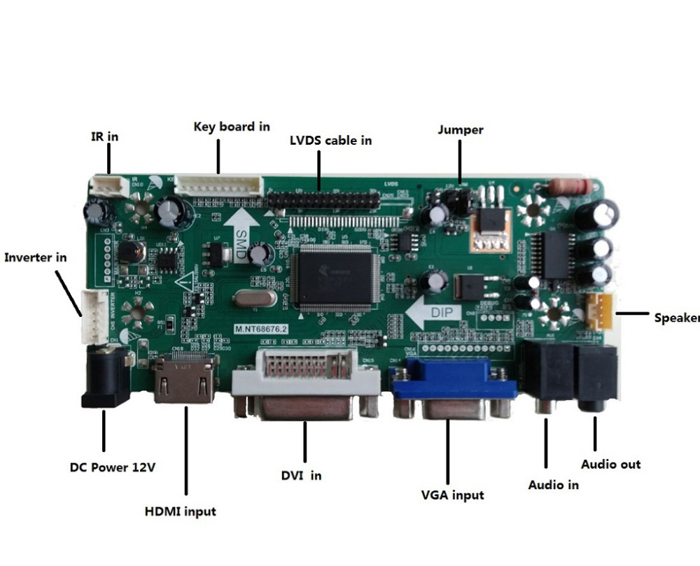 Image 2 - M.NT68676 HDMI DVI VGA LED LCD Controller board Kit DIY for LP156WH4(TL)(A1)/(TL)(B1) 1366X768 panel monitor-in Laptop Repair Components from Computer & Office on