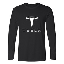 Fashion Tesla T-shirt Men Long Sleeve TShirts With Tesla Motors Black And White T Shirt In 4XL Men's Clothing In Casual Style